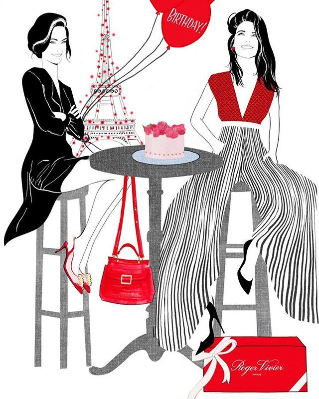 In honor of PFW...illustration for @rogervivier #nicolejarecz #illustration #fashionillustration #fashionillustrator #fashionart #pfw #fashionweek #rogervivier #parisienne #parisian #luxury #rogerviviershoes #cafe #toureiffel #editorialillustration