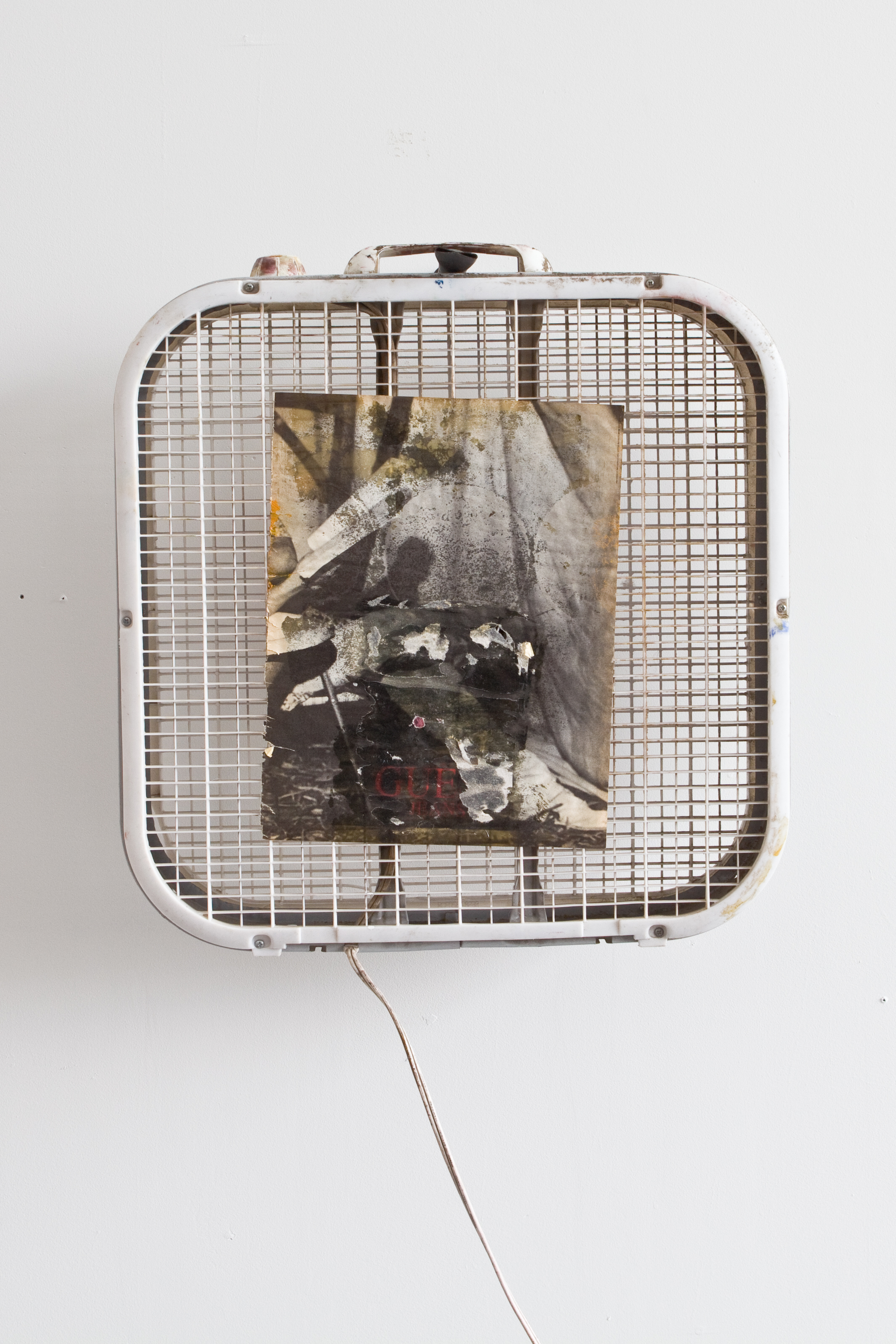 D.S. - 3 | Copper, box fan, found magazine ad, polyurethane, wood stain, ink, spray paint, oil