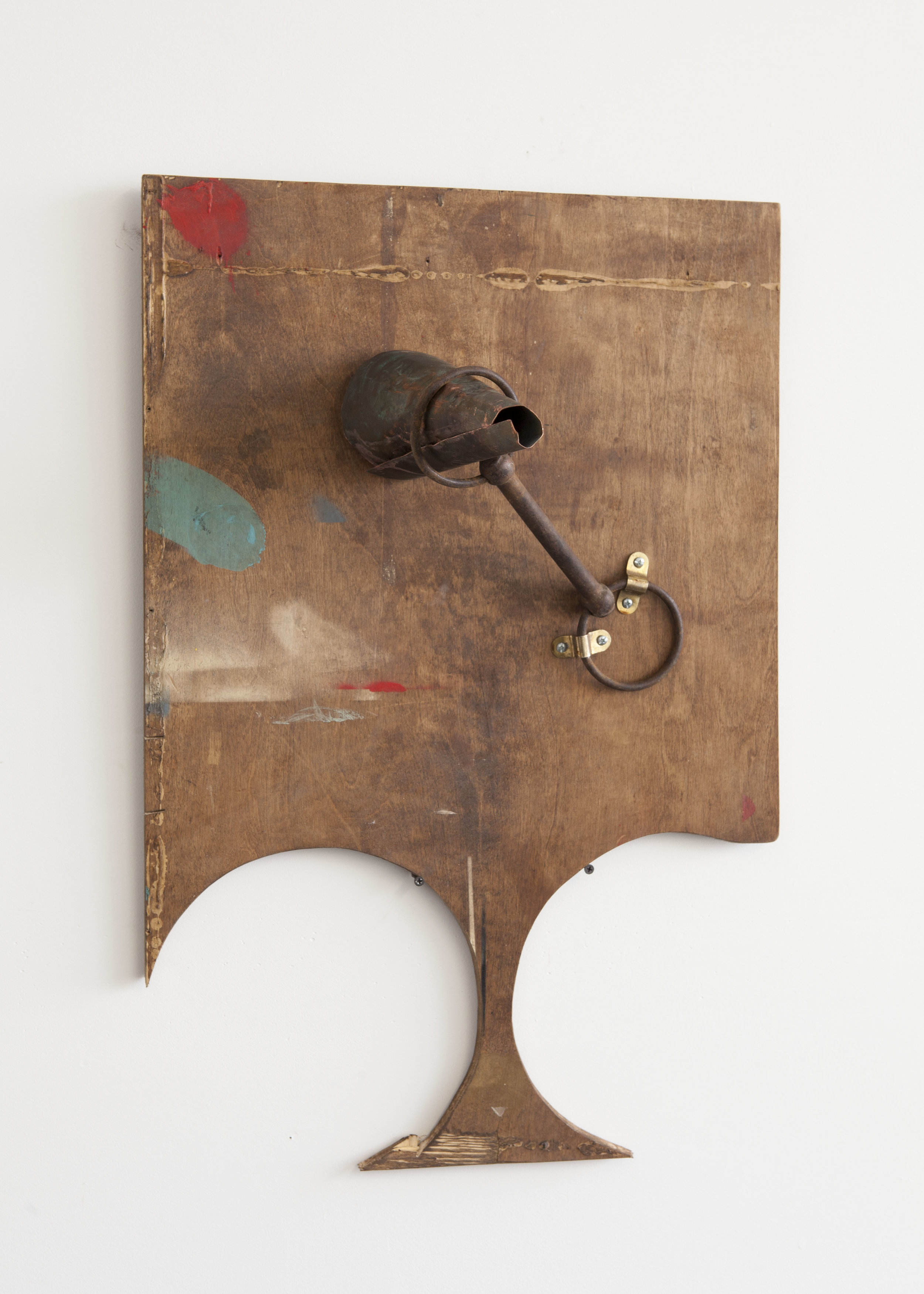 Untitled, found metal, oxidized copper, paint, wood, stain, hardware, 2017