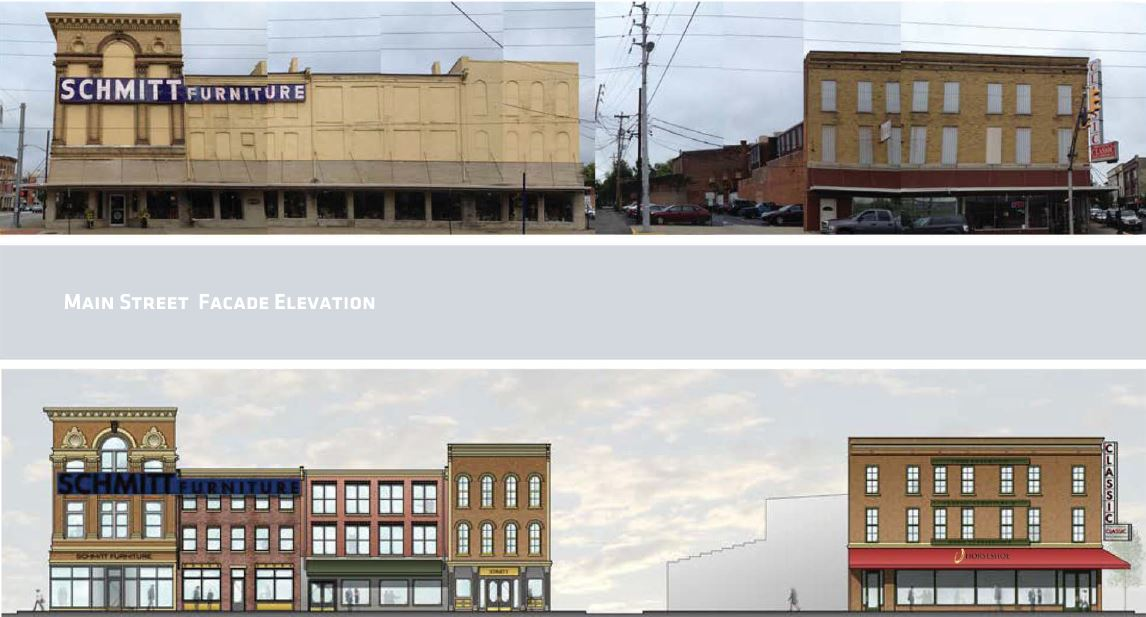 A rendering of potential facade improvements along Main Street.