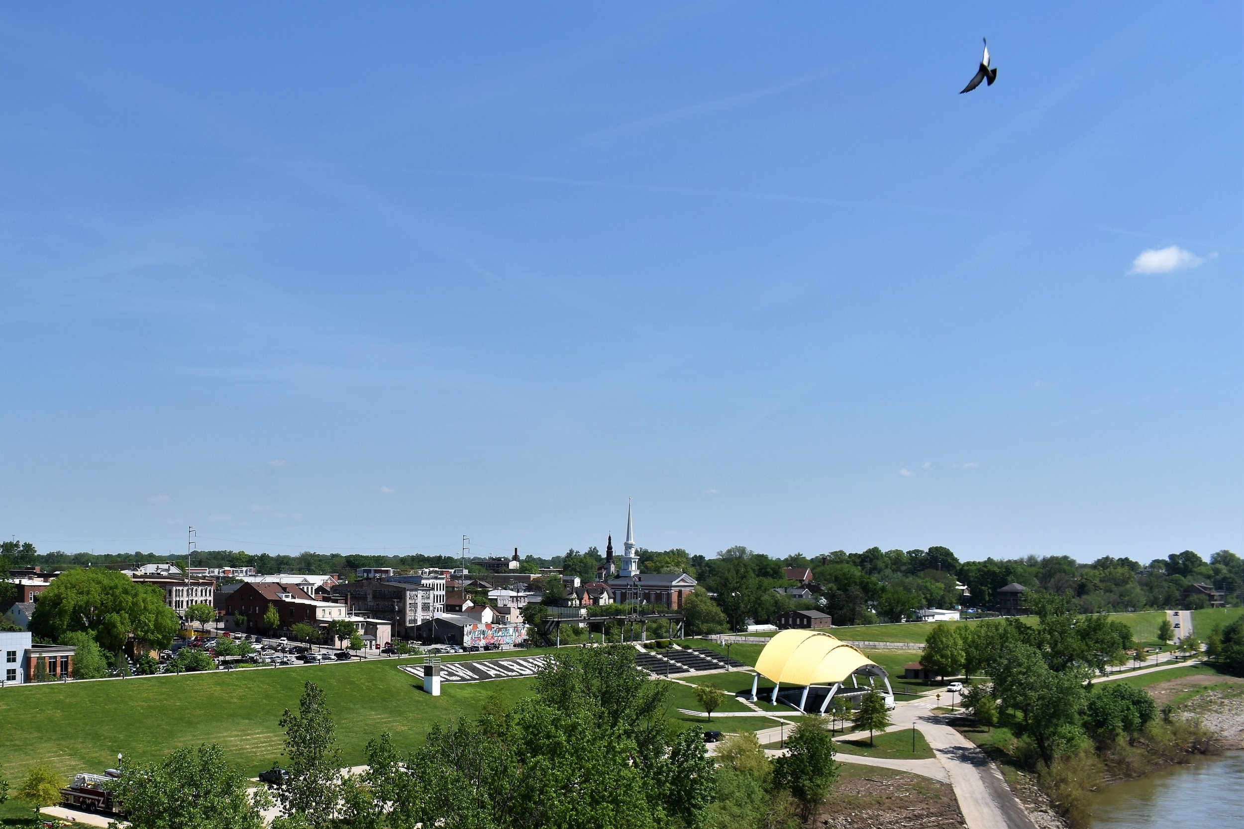 As visitors cross into New Albany over the Ohio River, the historic steeple is once again visible.