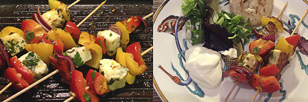 Halloumi and pepper kebabs - a great healthy starter