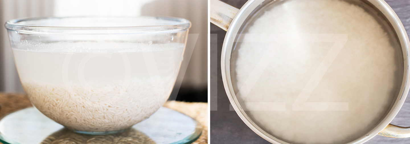 Left:Soak rice for at least an hour. Right: soaked rice rinsed and put in a pot to cook