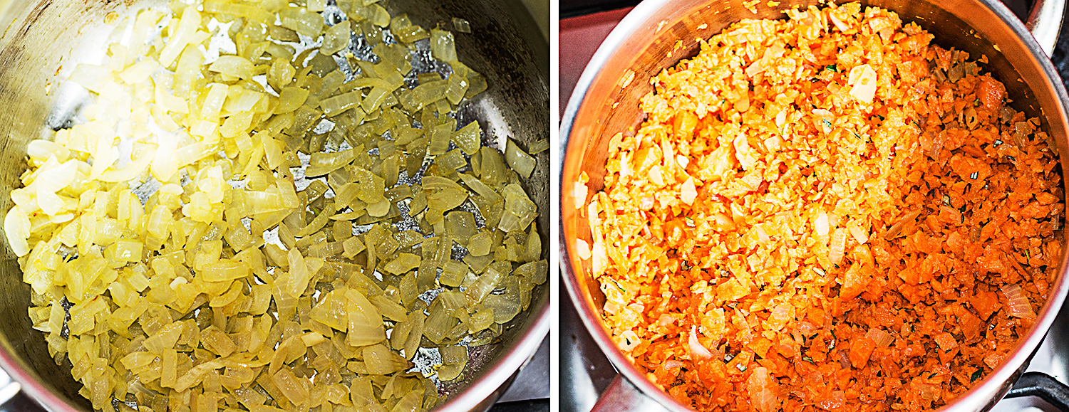 Left: Fry the onion. Right: Add the chopped carrots to the onion