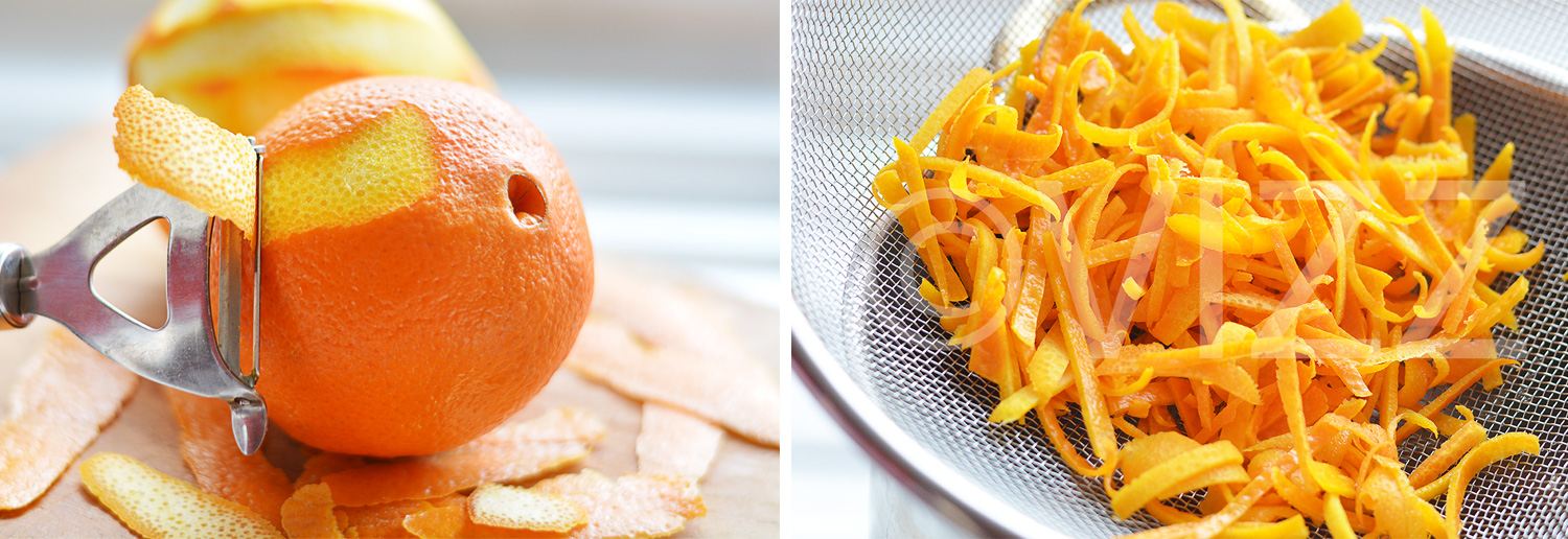 Left: Peeling the oranges   Right: Orange shreds being drained after boiling