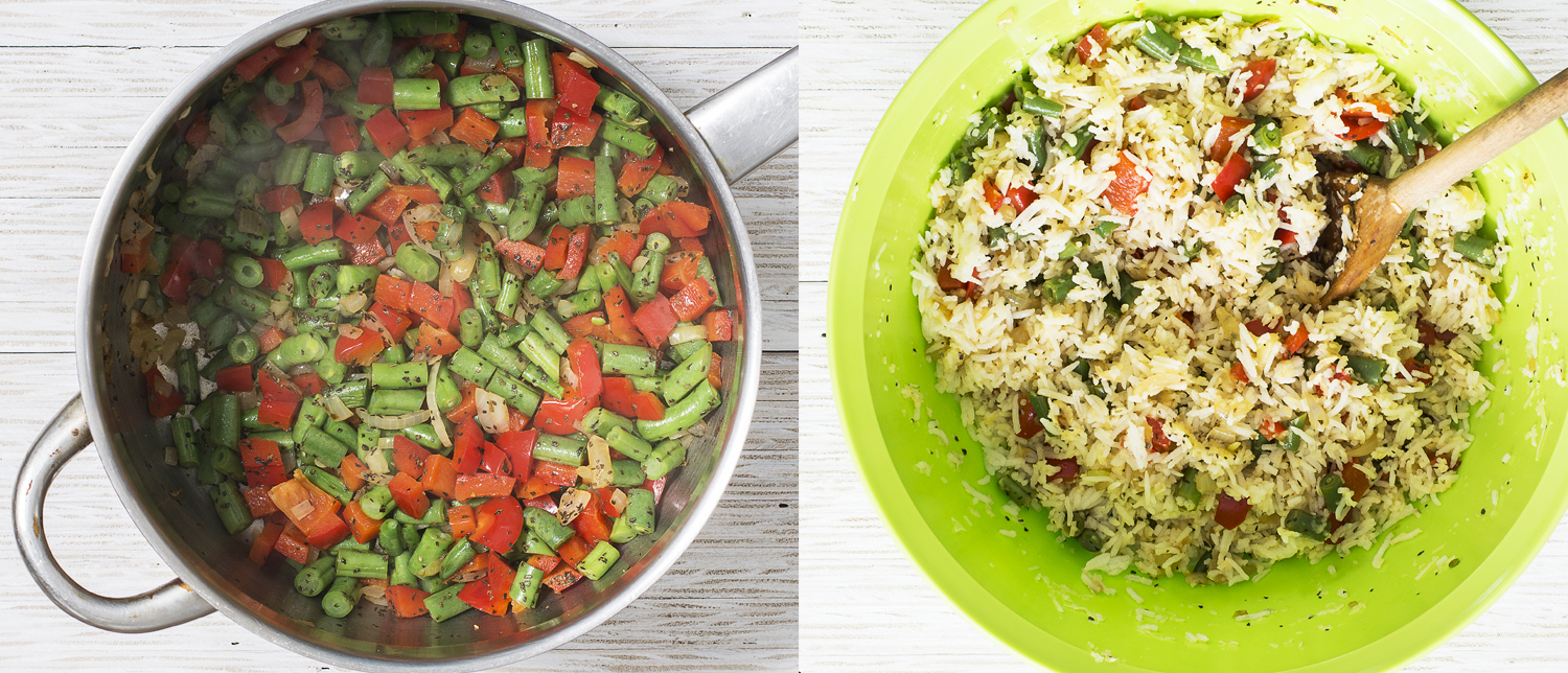 Left: Cooked vegetables  Right: Vegetables mixed with rice