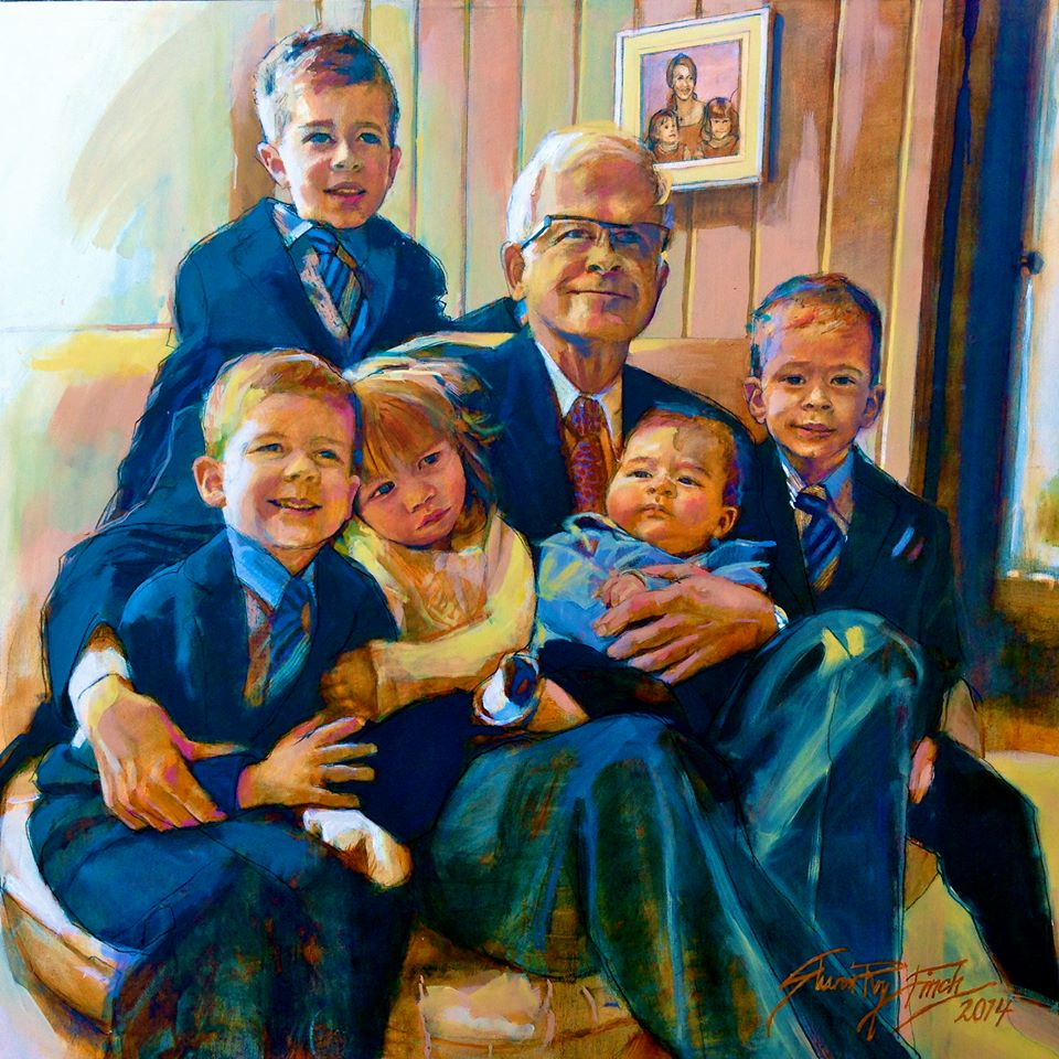 'Bill with Grandbabies', oil, 4' x 4'