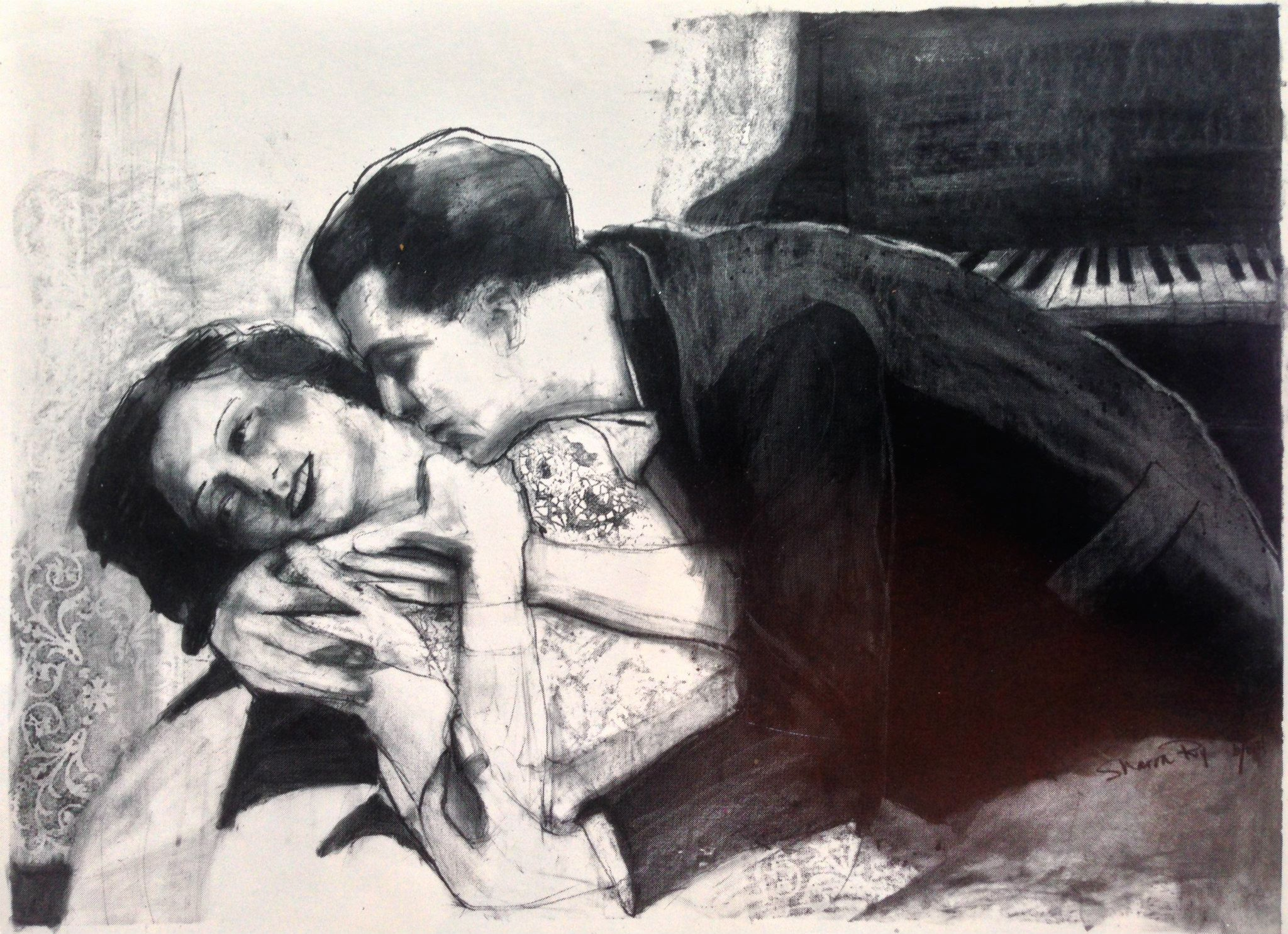 "'The Kiss', stabilo pencil on illustration board, 24"" x 36"""