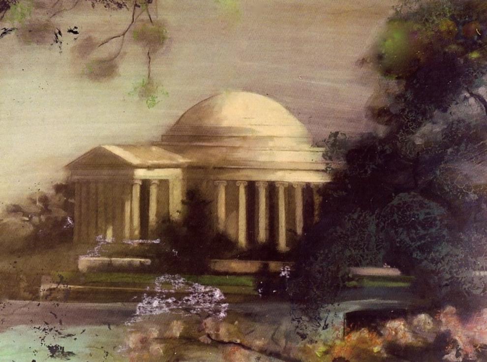 'Jefferson Memorial', oil, 3' x 4'