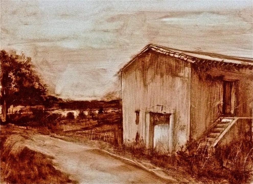"'Roujan Church', oil on clayboard, 8"" x 10"""