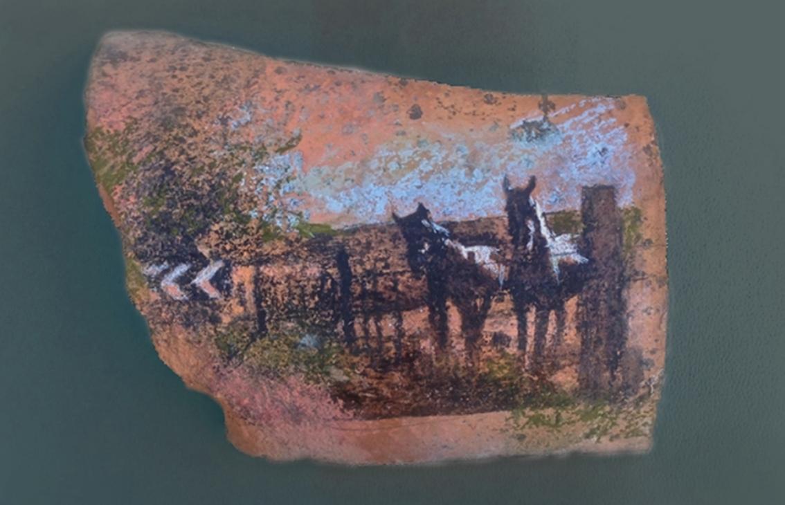 "'Horses', mixed medium on roof tile, 5"" x 7"""