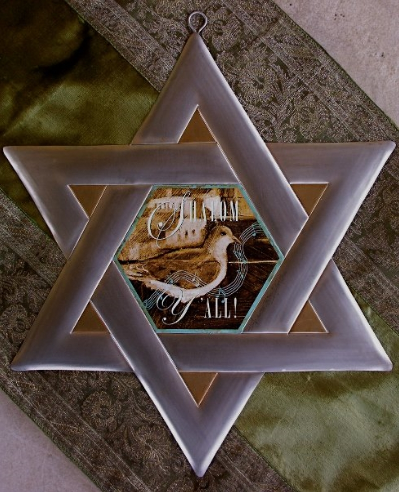 "'Star of David w/Dove', aluminum, Mixed medium 12"",18"",30"""