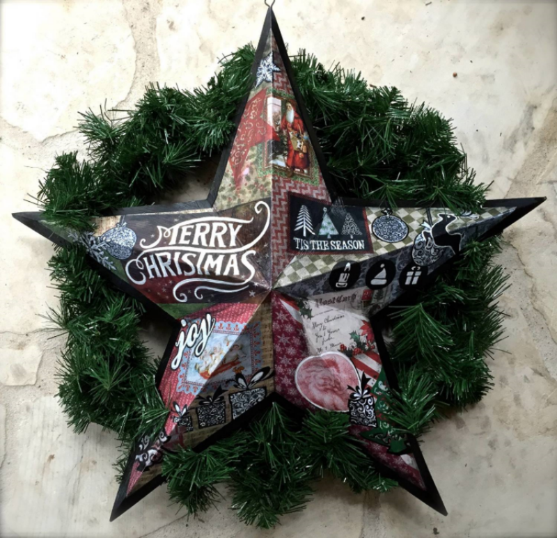 "'Merry Xmas Star',metal, Mixed medium 12"",18"",30"""