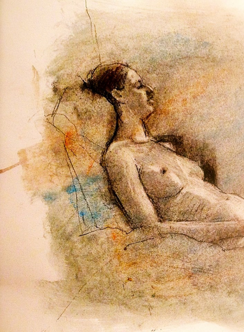 "'Right Reclining Figure' pastel on paper, 11"" x 14"""