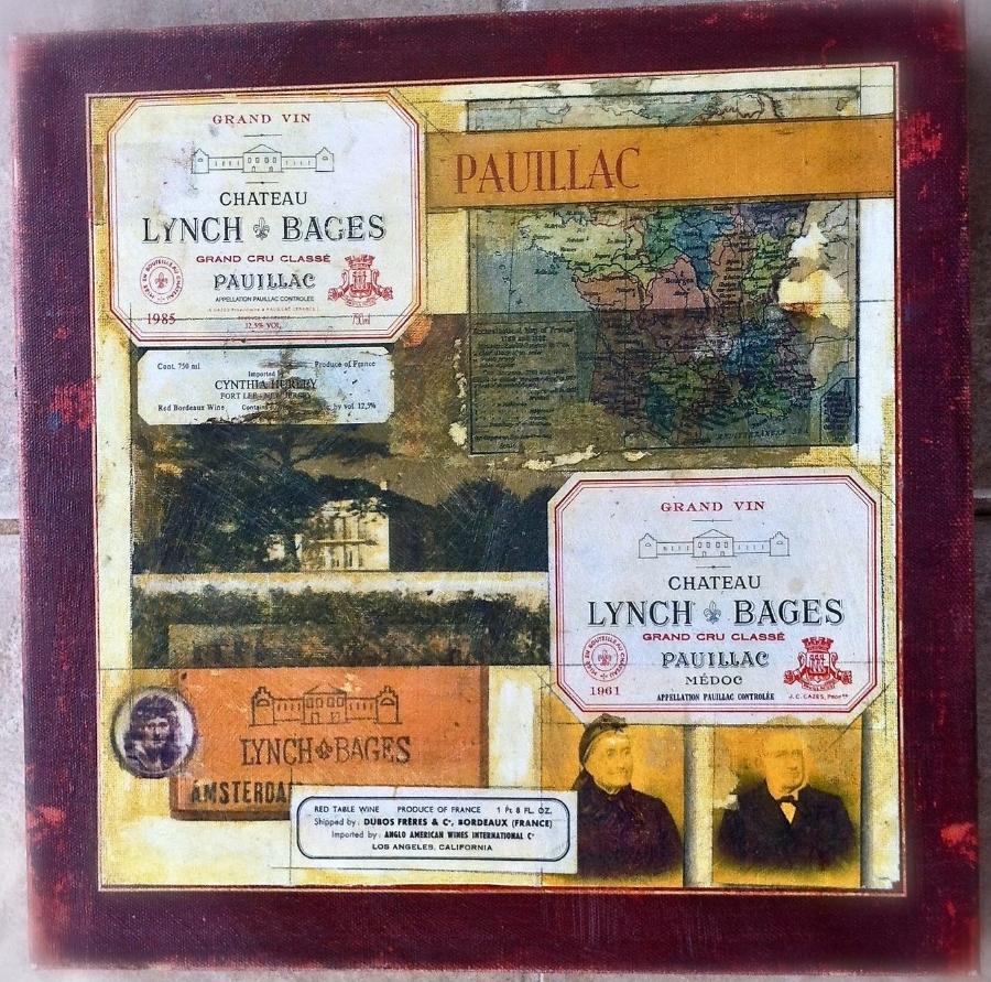 """'Pauillac' 70th Birthday Celebration, mixed medium, 16"""" x16"""""""