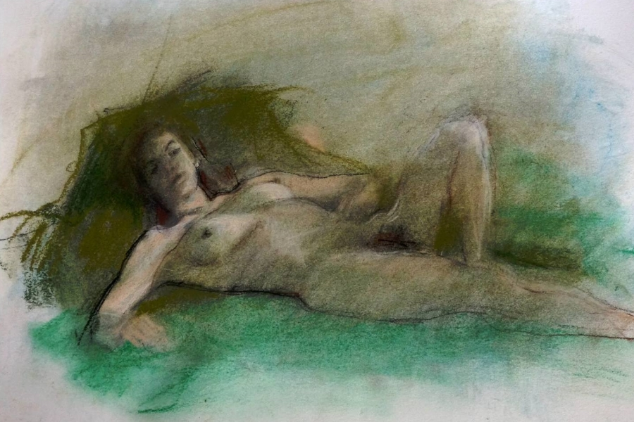 "'Green Reclining Figure' pastel on paper, 11"" x 14"""