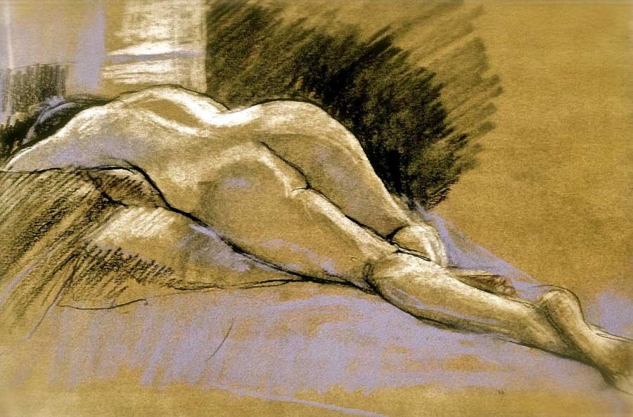 "'Figure in Repose' pastel on paper, 11"" x 14"""