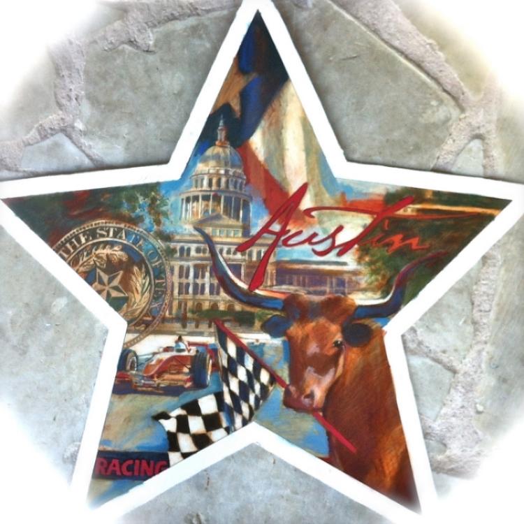 "'Austin Racing Star,  available as 6"" ornament, or 12"",18"",30"" Barn Star"