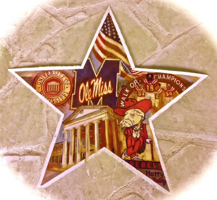 "'Ole Miss Star,  available as 6"" ornament, or 12"",18"",30"" Barn Star"