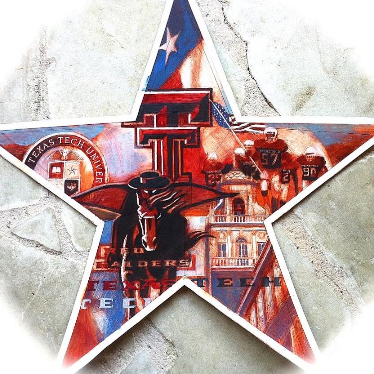 """'Texas Tech Star,  available as 6"""" ornament, or 12"""",18"""",30"""" Barn Star"""