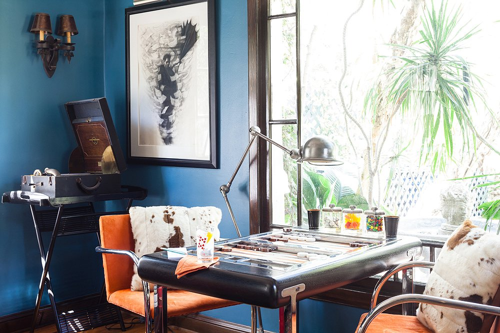 Lulu Powers'  convertible backgammon table / desk! Love the traditional-meets-California vibe.