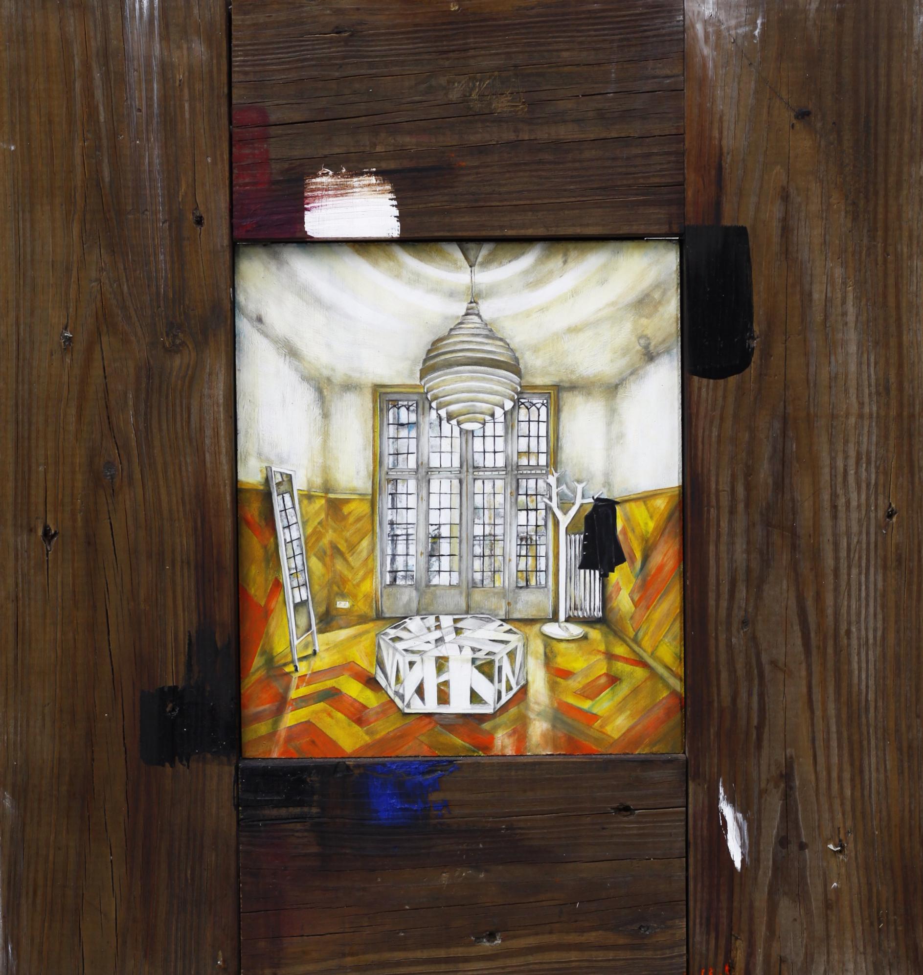 "Bachaco Amarillo , 2012. Oil on wood. 16.75"" x 15.25"""