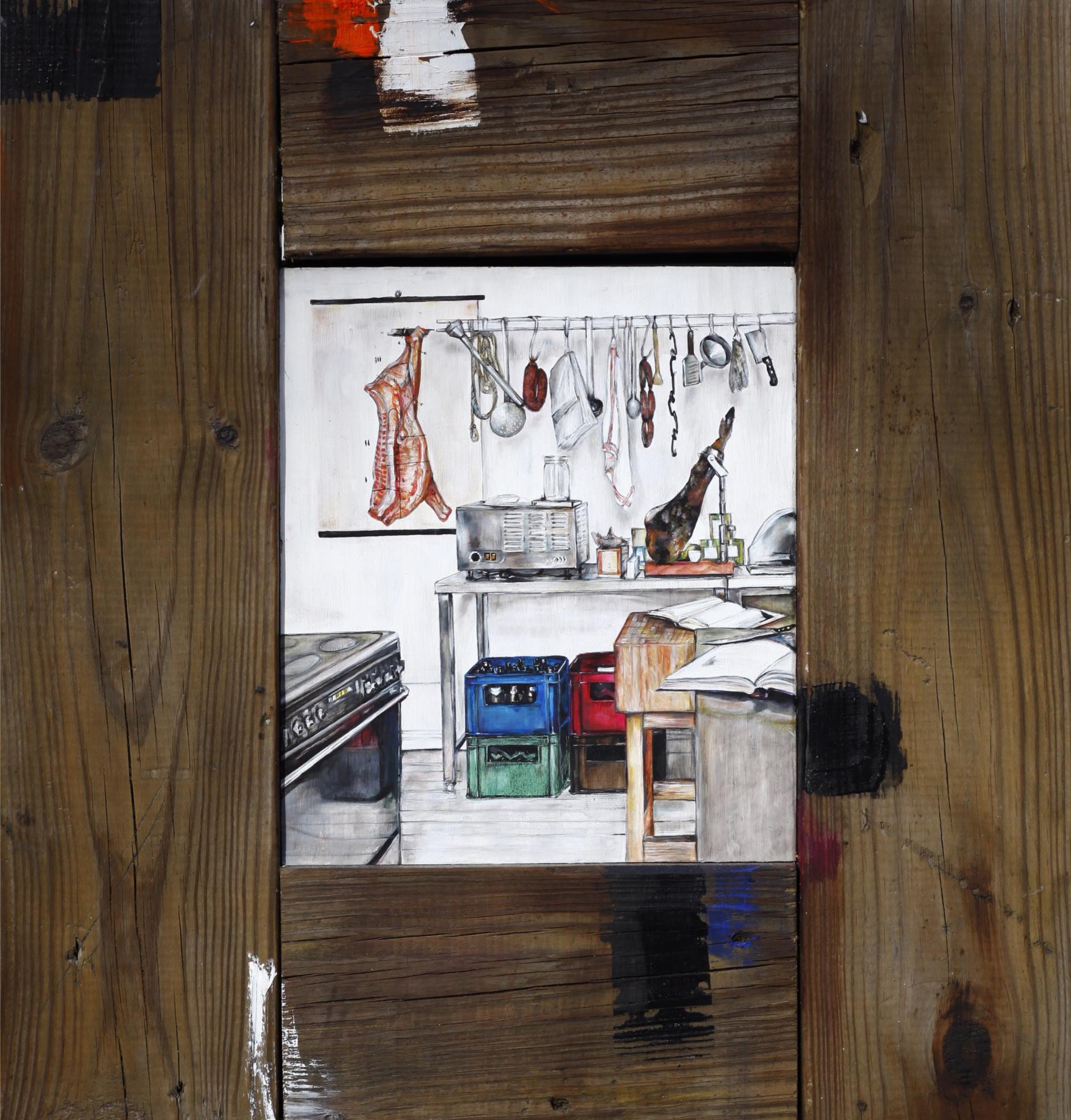 """Vienna's Kitchen , 2012. Oil on wood. 22"""" x 20.5"""""""