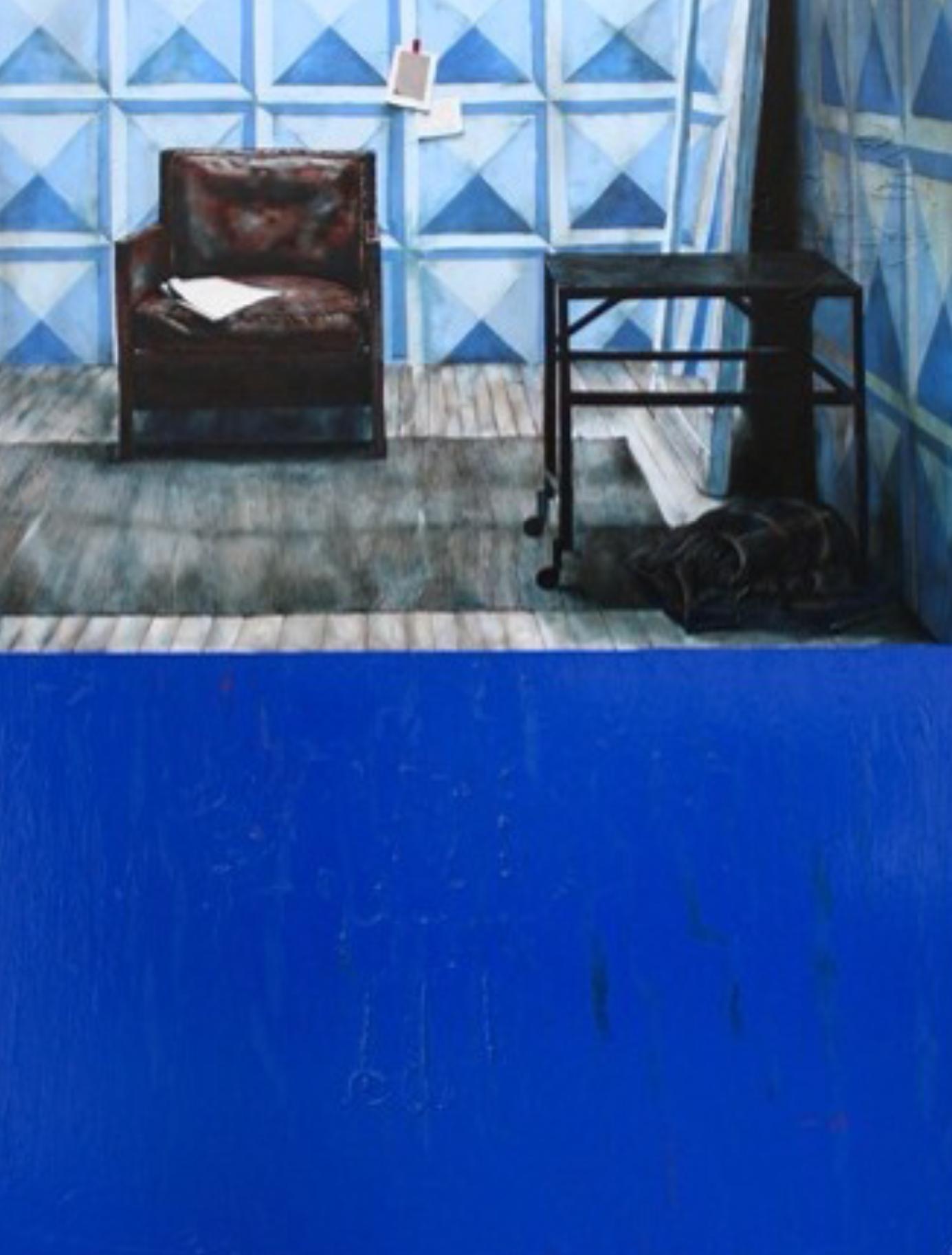 "Blue Chair , 2012. Oil on Canvas, 48"" x 60"""
