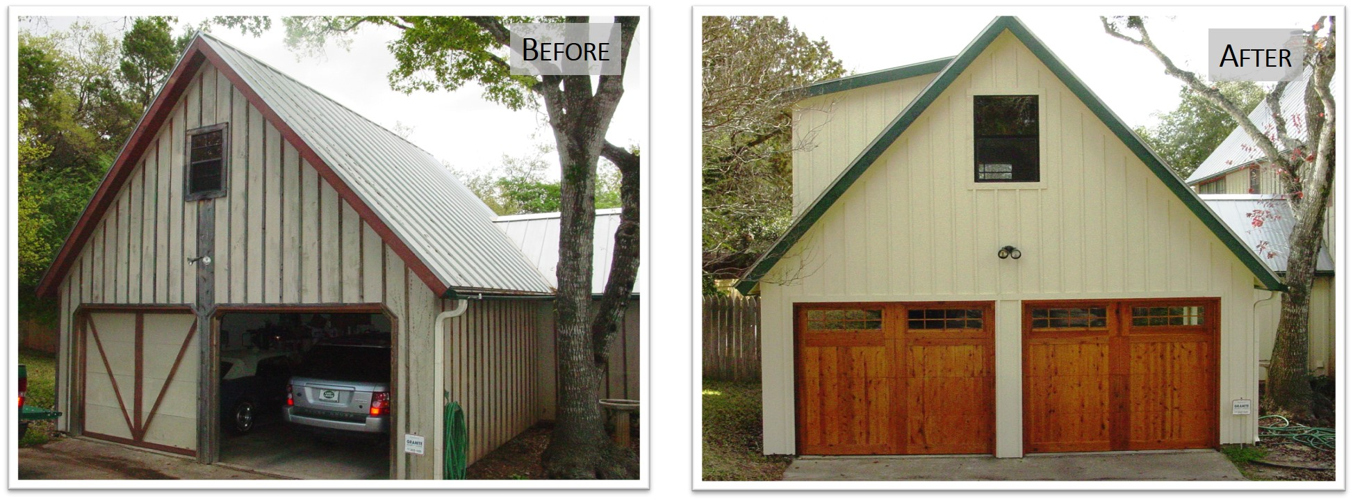 4802 WB, Garage Front, Before and After, Bear Creek Homes.jpg