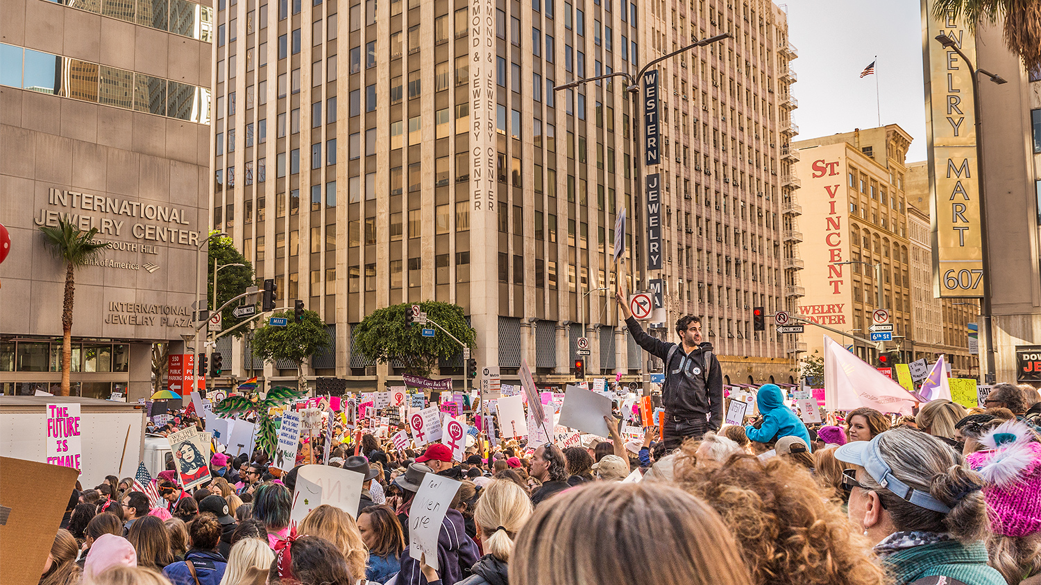 """(2017)A lone supporter escapes the crush by climbing, moments after organizers asked, """"Are you ready to march?"""" when the crowd pushed forward only to realize there wasn't anywhere to go."""