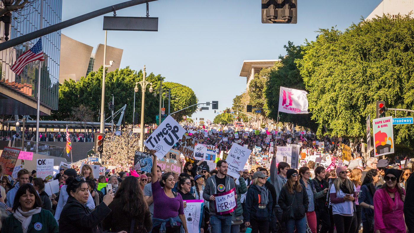 (2018) Los Angeles' Women's March feels different than last year. The hopefulness is dimming and anger is rising. Calls for impeachment and holding sexual harassers accountable are growing louder. Women want change, fast.