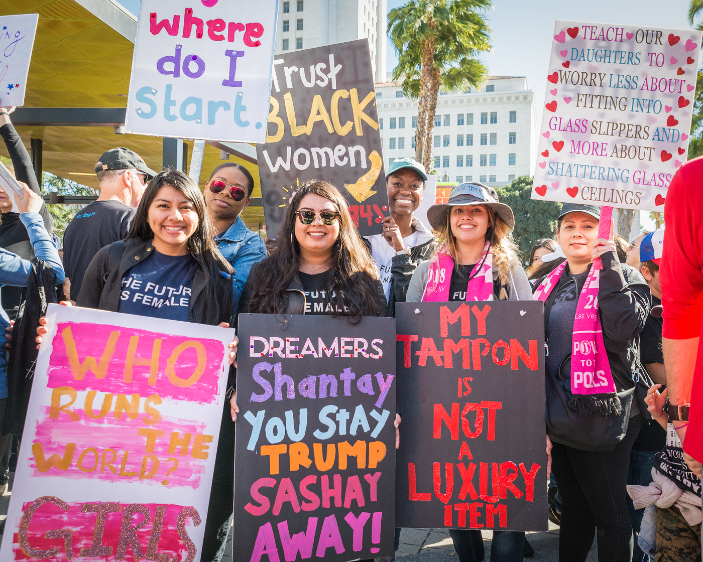 """(2018) Marchers cite specific reasons for marching. People of color, """"white feminism,"""" Dreamers, reproductive rights, equal opportunities, any and all issues that women felt strongly about are seen and heard."""