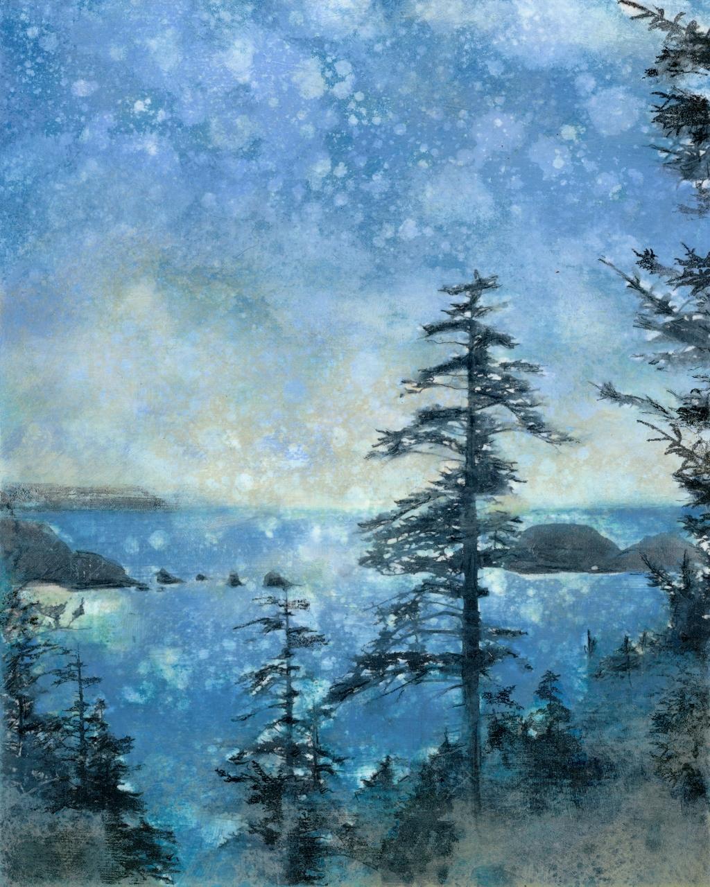 Spring Vista, Rain Painting Print, Jeni Lee, Cape Meares, Three Arch Rocks LARGE MASTER (1024x1280).jpg