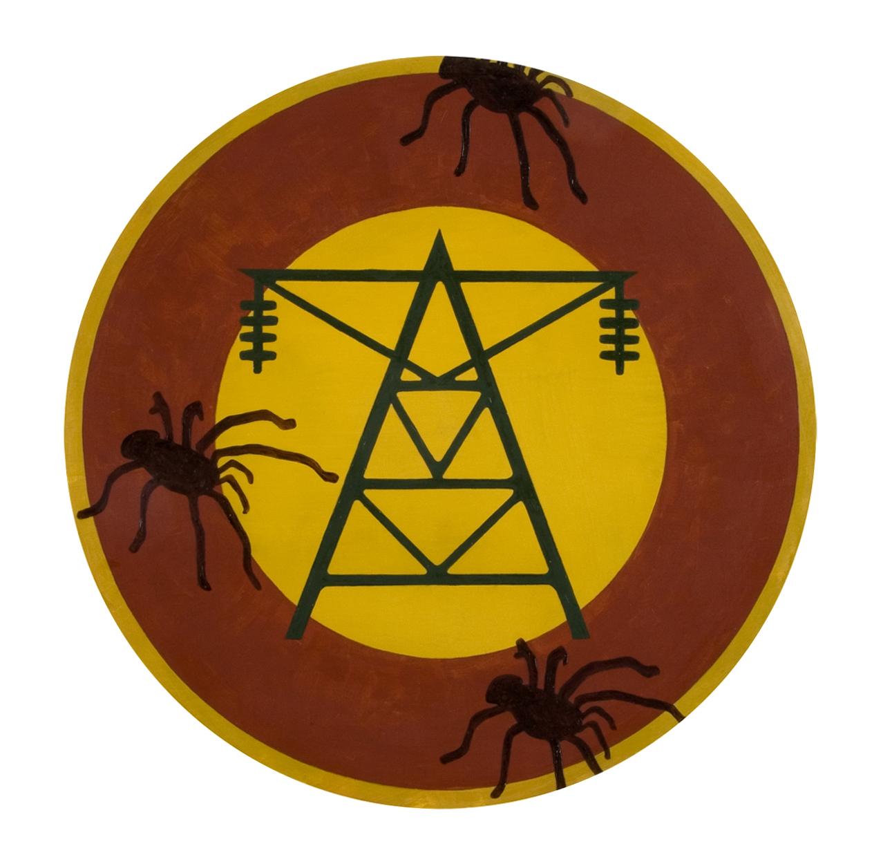 """Detail   County   oil on wood  15"""" in diameter"""