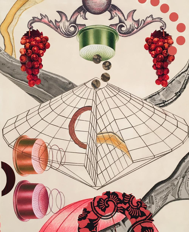 "Ostwald's Dream   2017 Paper fragments, color pencil, gesso on paper 17 x 14"""