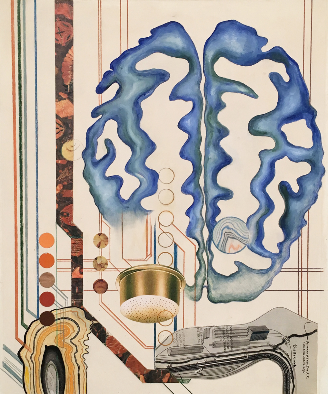 "Scheming   2017 Paper fragments, color pencil, gesso, oil on paper 17 x 14"""