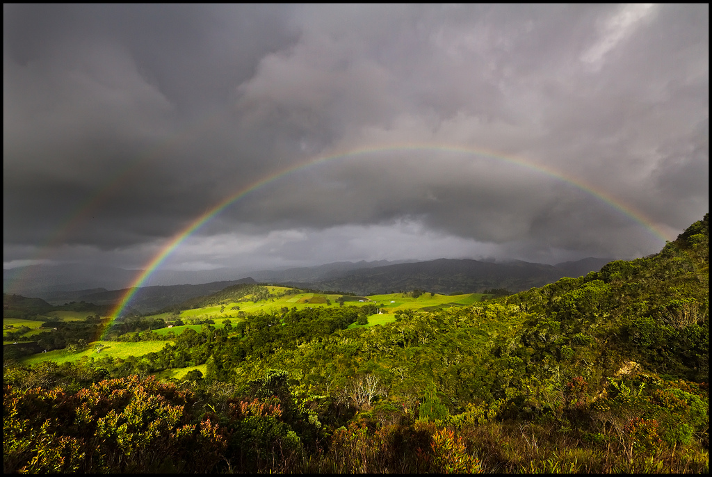 A rainbow near the legendary lake of Guatavita in Colombia. Another excellent photo by Pedro Szekely. Available  here .