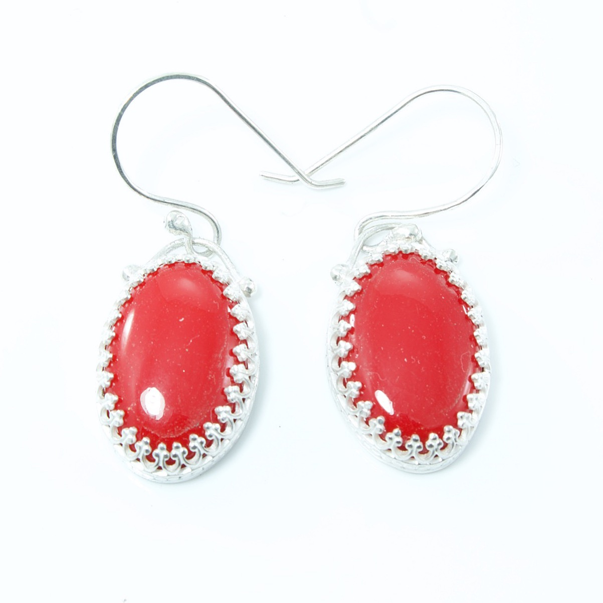 Sterling silver & faux coral earrings