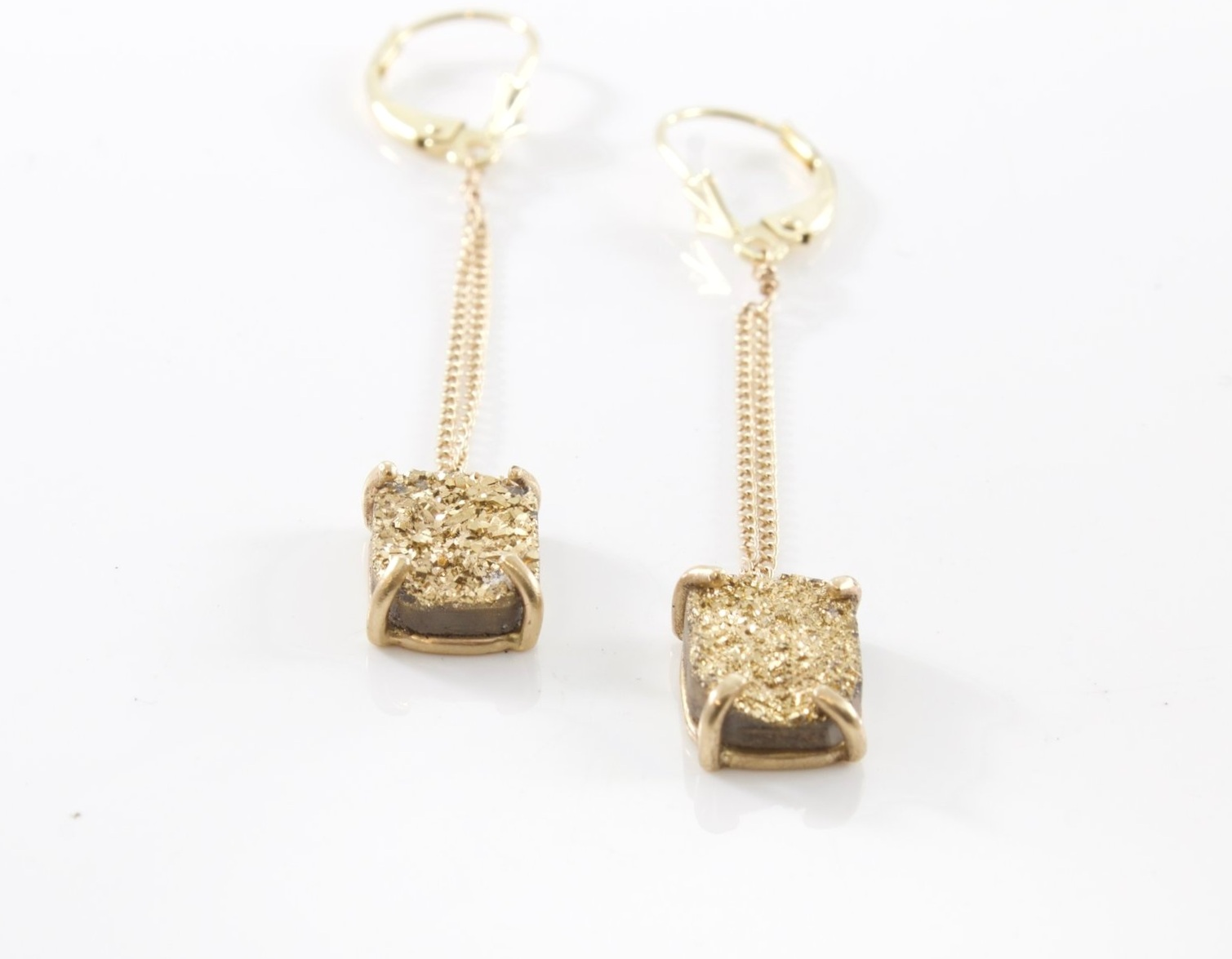 14k gold and Druzy Earrings