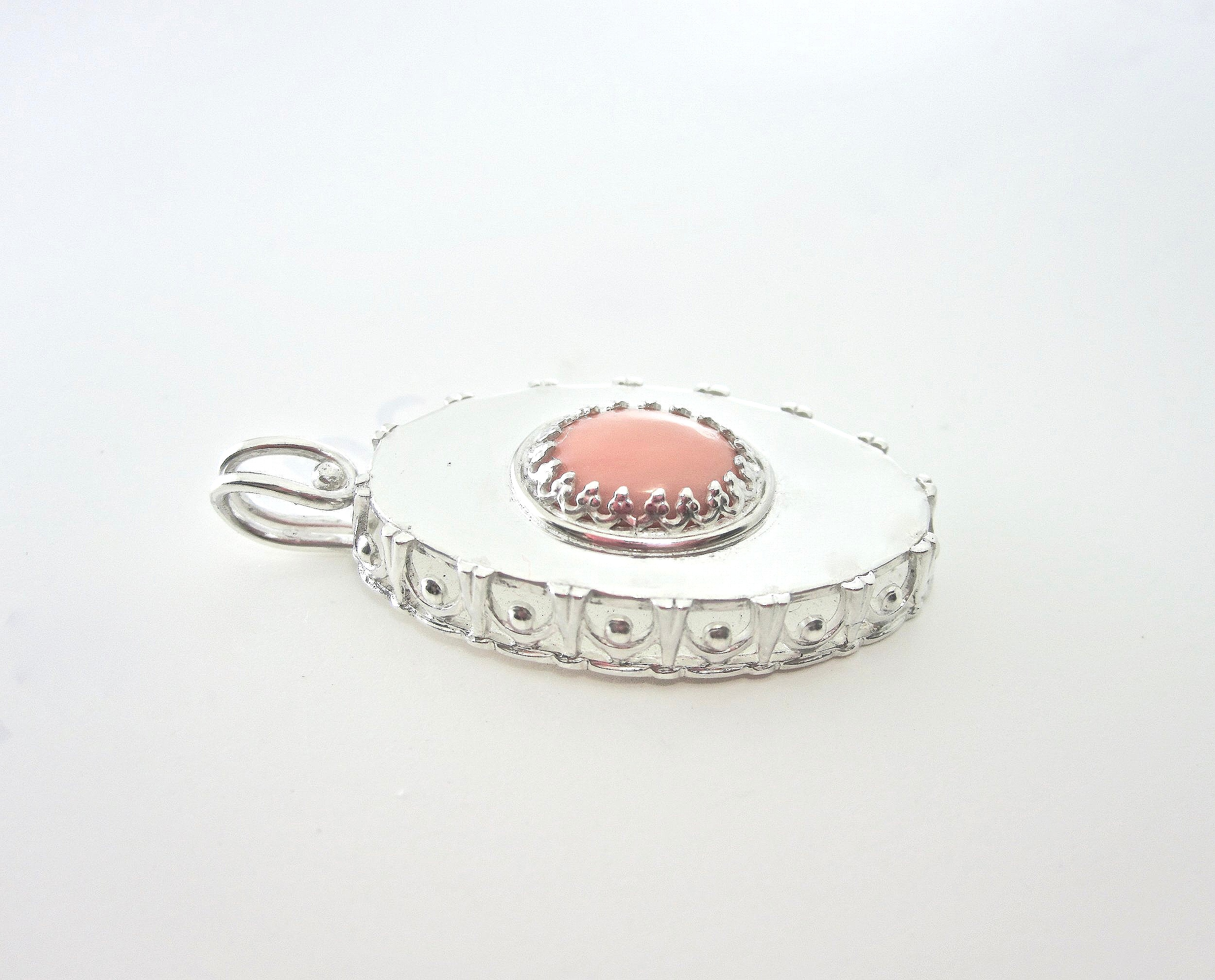 Silver open sided oval box pendant