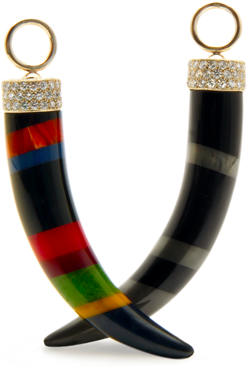 Tusk pendants hand-carved from laminated vintage bakelite mounted in 18 karat gold and pavé diamond caps.