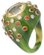 Ring of vintage bakelite with diamonds, citrine and mandarin garnet in 18 karat gold.