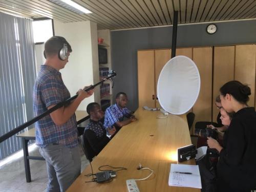 The team conducting interviews with Bridge2Rwanda students.