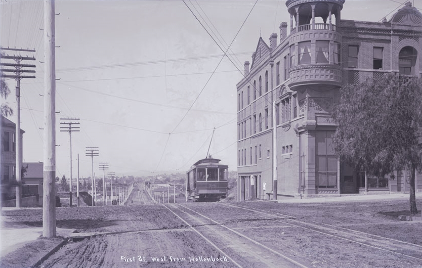 When constructed in 1889 by George Cummings, the Boyle Hotel reflected expansion and growth outside Los Angeles' commercial core.  The building represents a transition at the end of the nineteenth century when Los Angeles went from a town surrounded by farmland to a burgeoning city center surrounded by suburban neighborhoods.   Photo courtesy of California State Library.