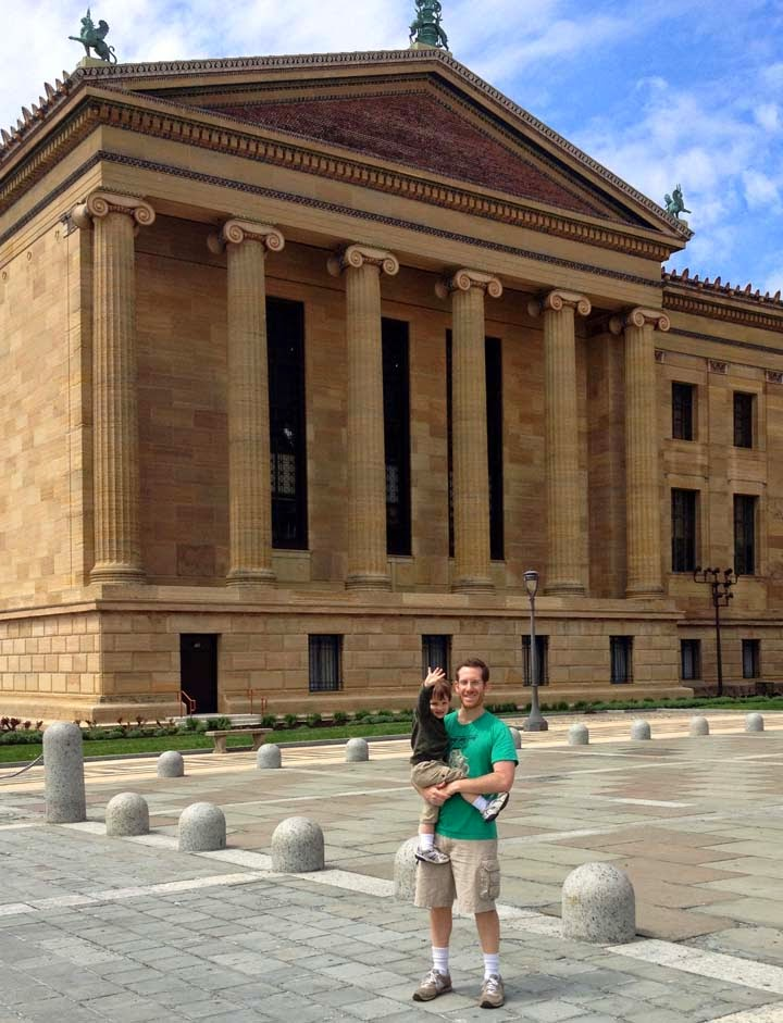 David and his 2 year-old son Leo in front  of the Philadelphia Art Museum