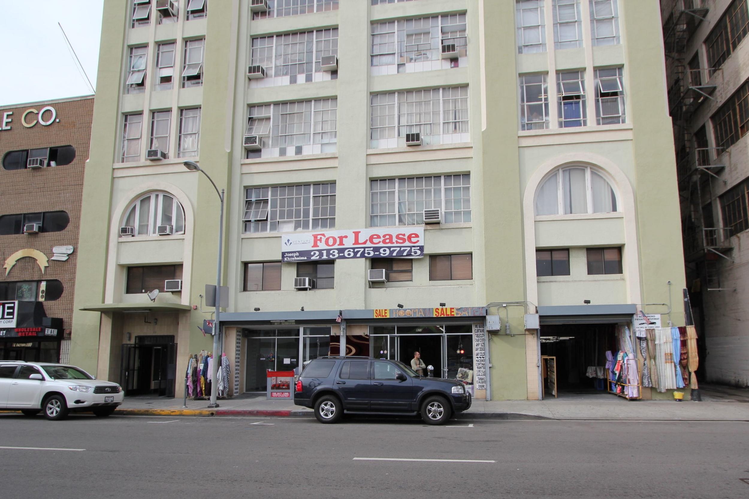 Maxfield Building facade, before rehabilitation.