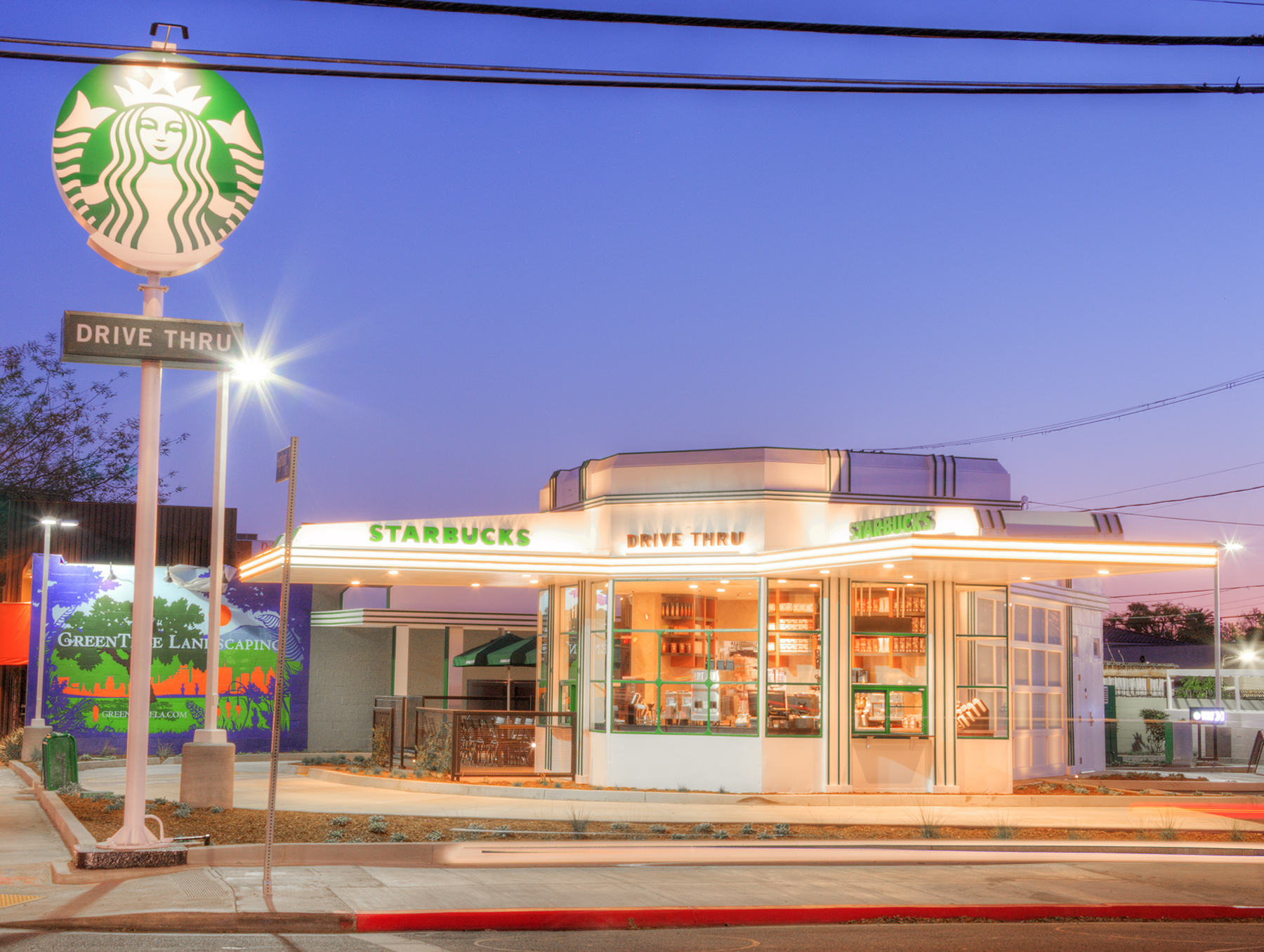 Gilmore Gas Station rehabilitated and converted into a Starbucks