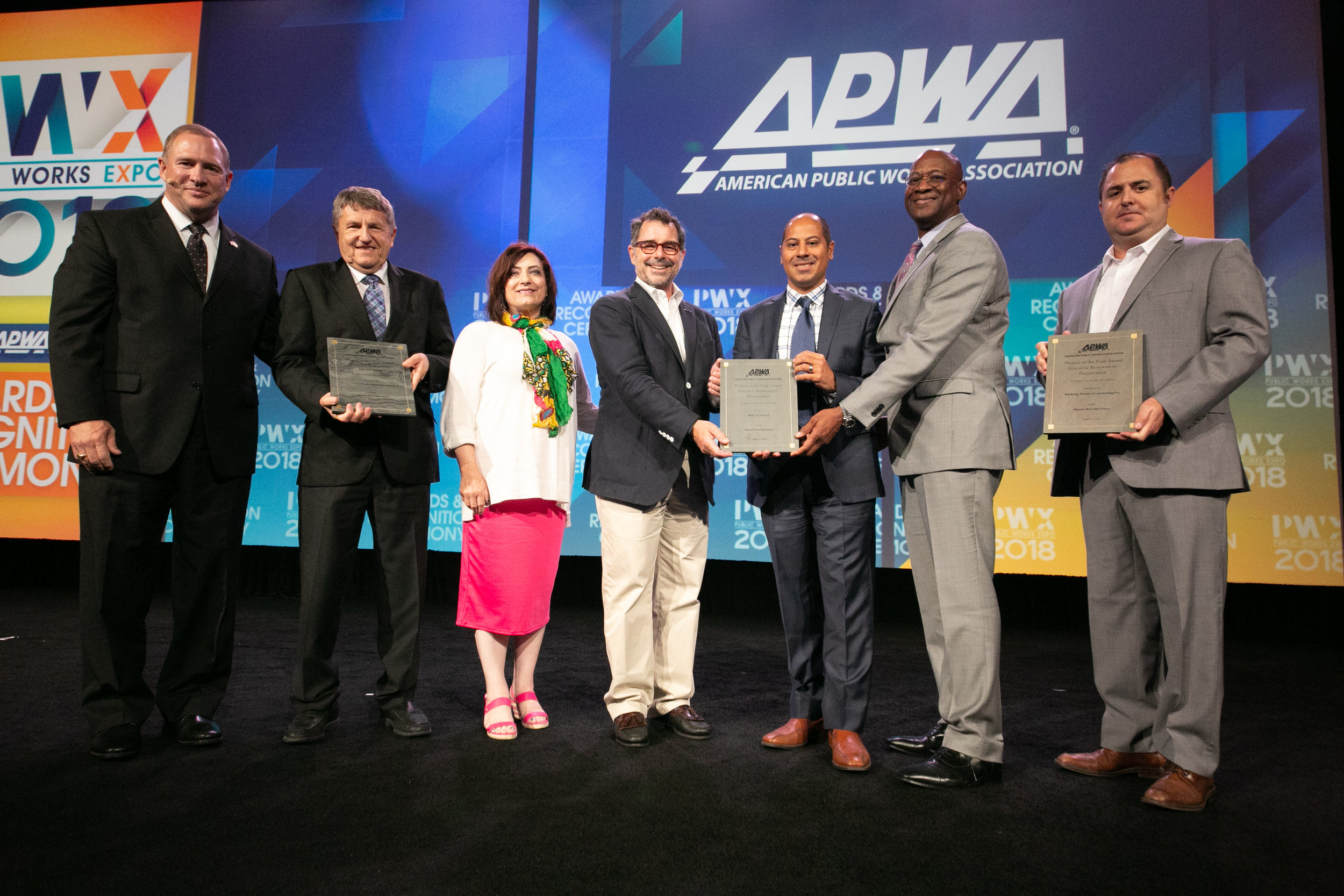 On stage receiving the American Public Works Association award