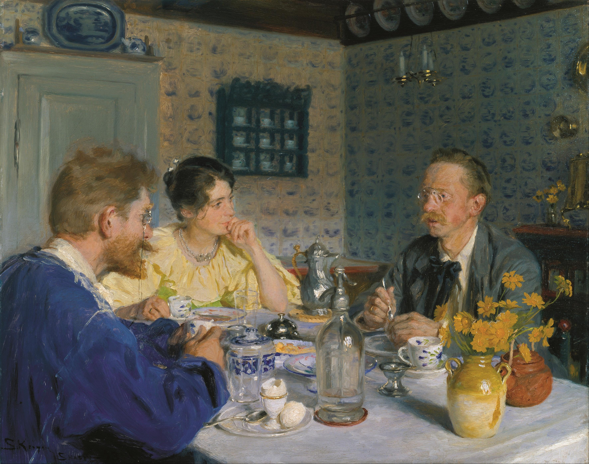 Kroyer - A luncheon, the artist, his wife and the writer Otto Benzon