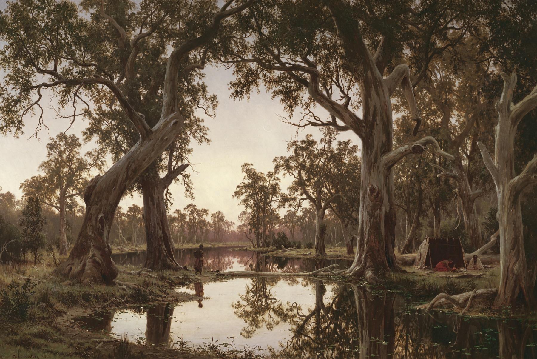 Evening Shadows, Backwater of the Murray, South Australia 1880  121 cm x 180 cm